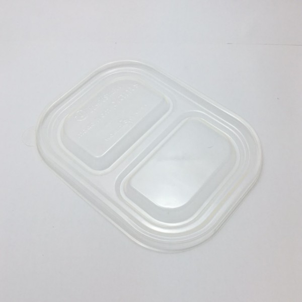 Trsansparent Corn Starch 2 Compartment Bio Box Lids