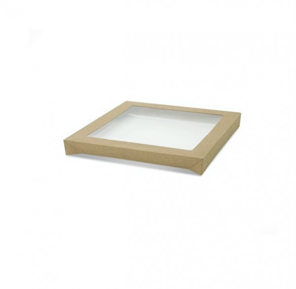 Kraft/ Brown and Clear Cardboard and Plastic Small Cater Box Lids