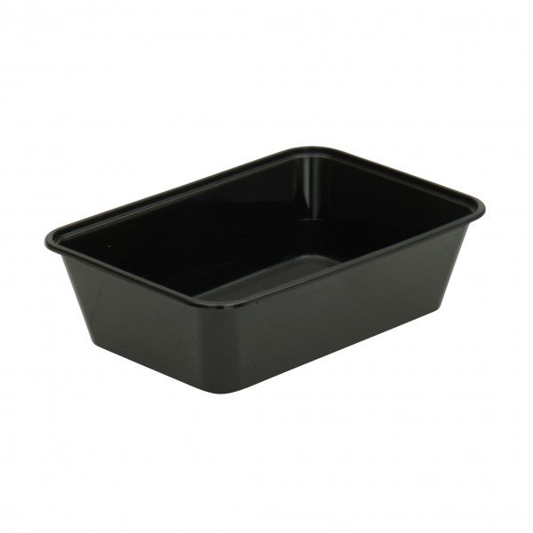 Black Plastic Oblong Microwave Containers