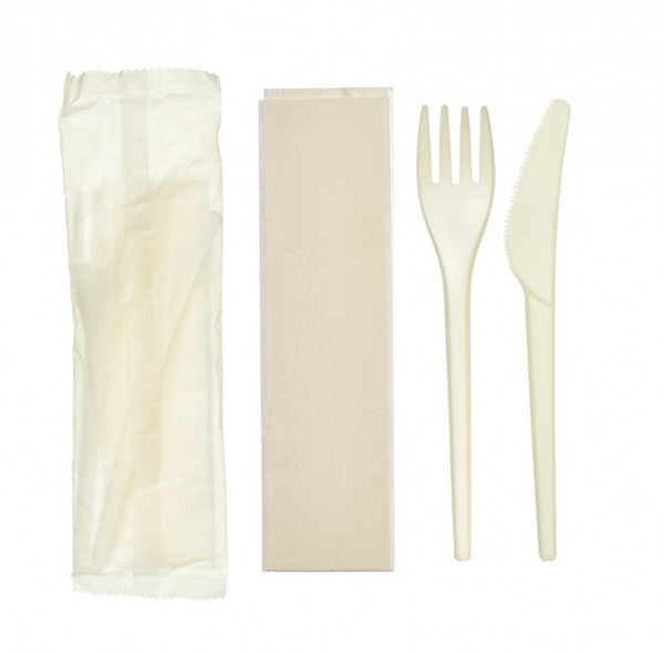 Knife, Fork & Napkin Biodegradable Cutlery Pack