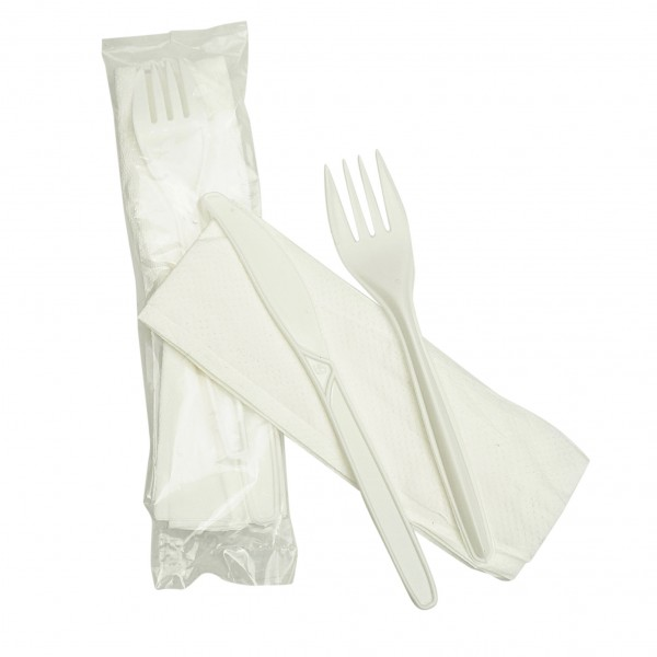 White Plastic and Paper Knife Fork and Napkin Packs