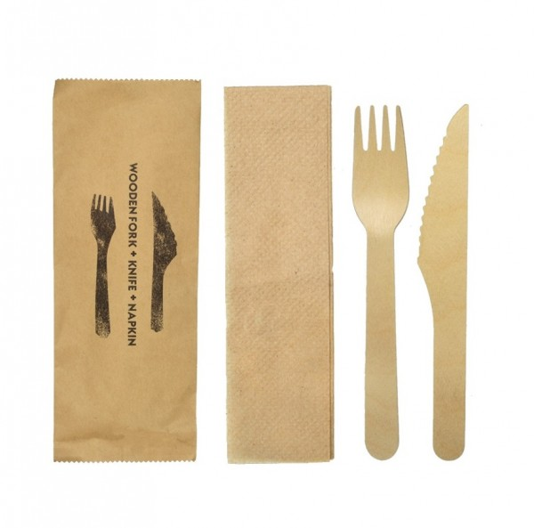 Kraft Wooden Knife, Fork and Napkin Packs