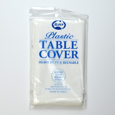 White Plastic Round Tablecovers