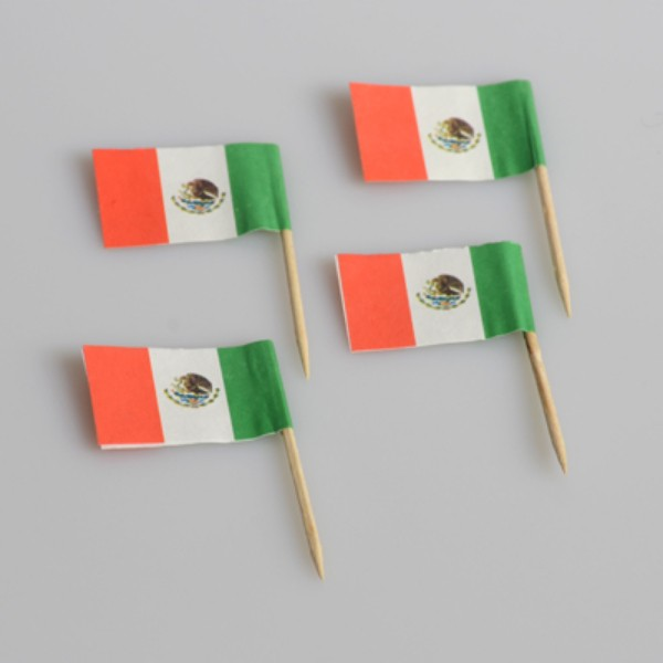 Mexican Flag Wood and Paper Toothpicks