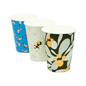 Cartons contain up to three different art cup prints, with new artists featured every two months.  (Please note, we cannot guarantee which prints will be in each carton) Eco Frendly Paper Coffee Cups  lined with PLA BioPlastic