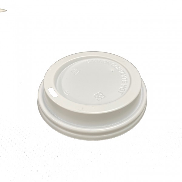 Whiite Plastic Lid for: 12oz & 16oz coffee cups