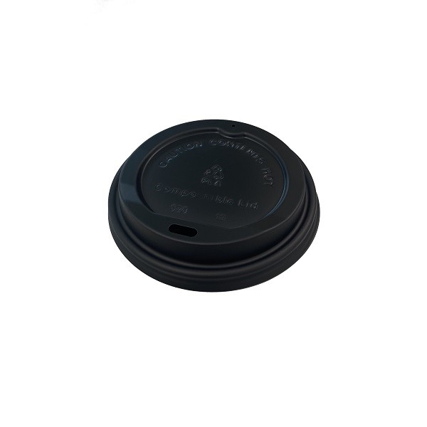 Black Compostable Lid for 12oz & 16oz coffee cups