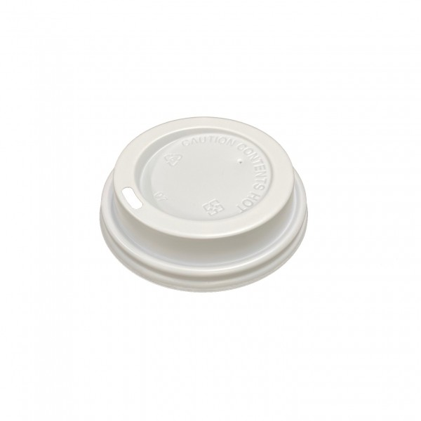 White Plastic Lid for: 6oz & 8oz coffee cups