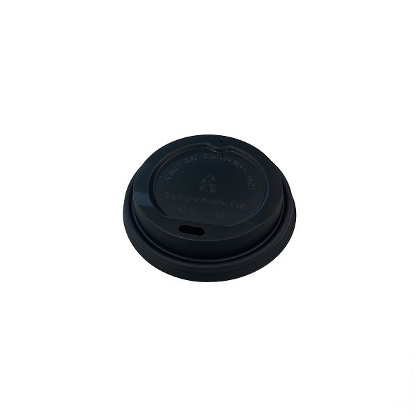 Black Compostable Lid for: 6oz & 8oz coffee cups