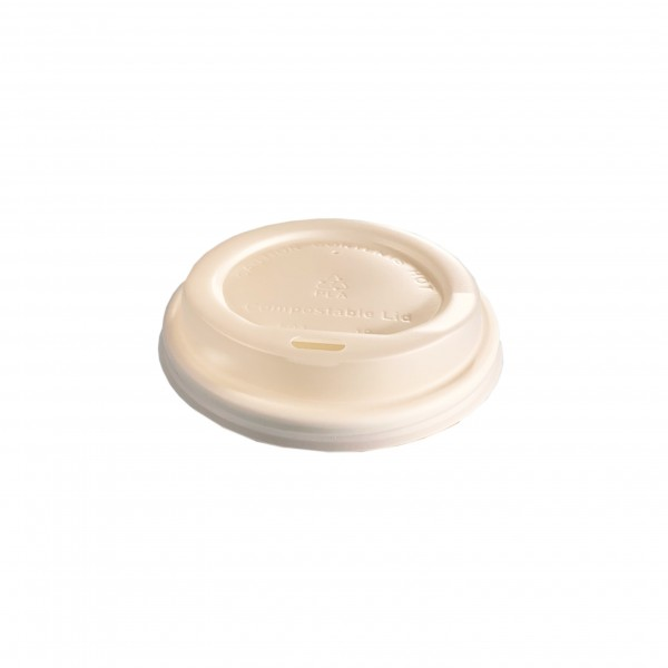 White Compostable Lid for: 6oz & 8oz coffee cups