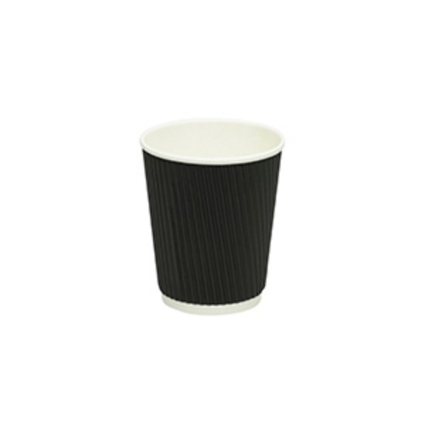 Black Ripple Paper Coffee Cups