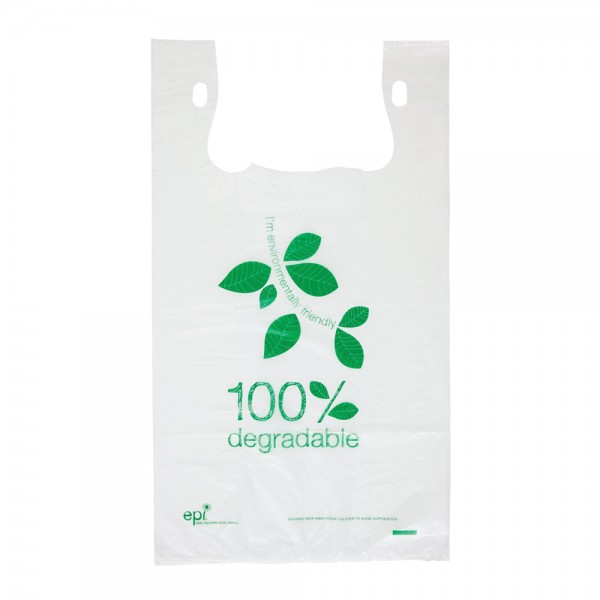 White Degradable Plastic Checkout Bags