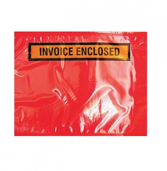 Red Plastic invoice enclosed envelope