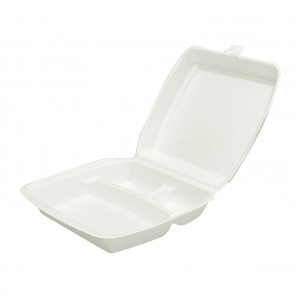 White Foam 3 Compartment Dinner Boxes