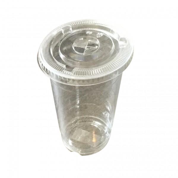 Clear PET Plastic Cups & Lids with strawslot