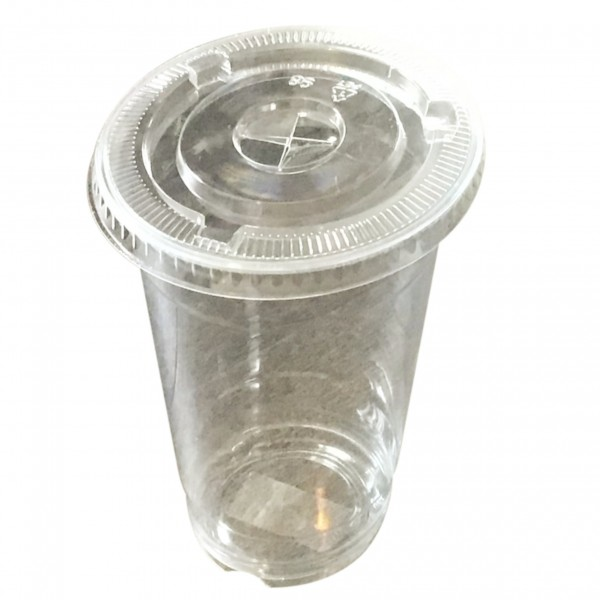 Clear PET Plastic Cups & Lids with strawslot