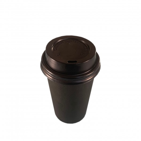 Black Paper Coffee Cups & Black Lids