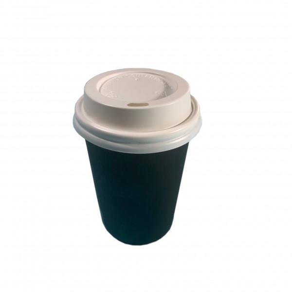 Black Paper Coffee Cups & White Lids