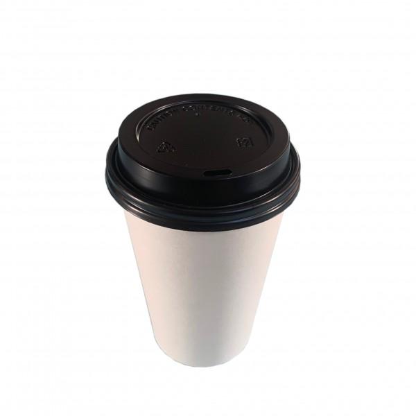White Paper Coffee Cups & Black Lids