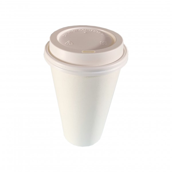 White Paper Coffee Cups &  Lids