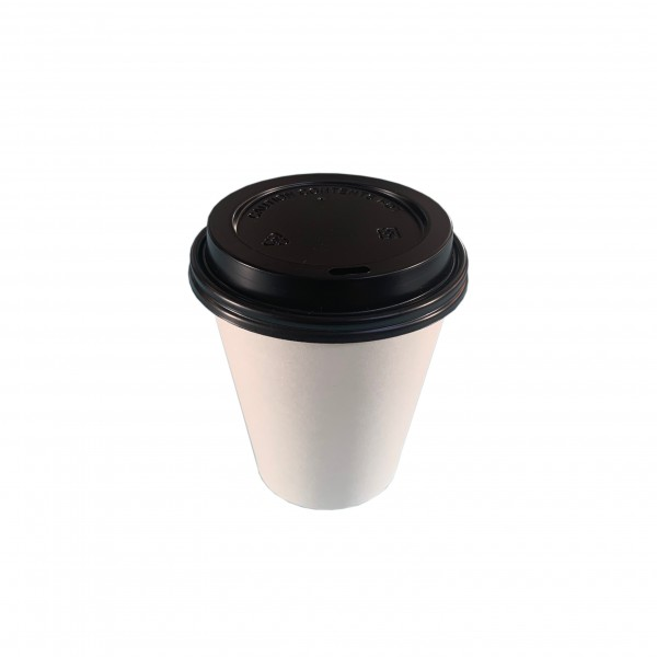 White Paper Coffee Cups & Black Lids
