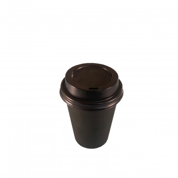 Black Paper Coffee Cups &  Lids