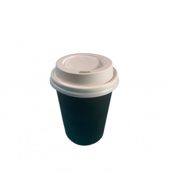 Black Paper Coffee Cups & White Lids