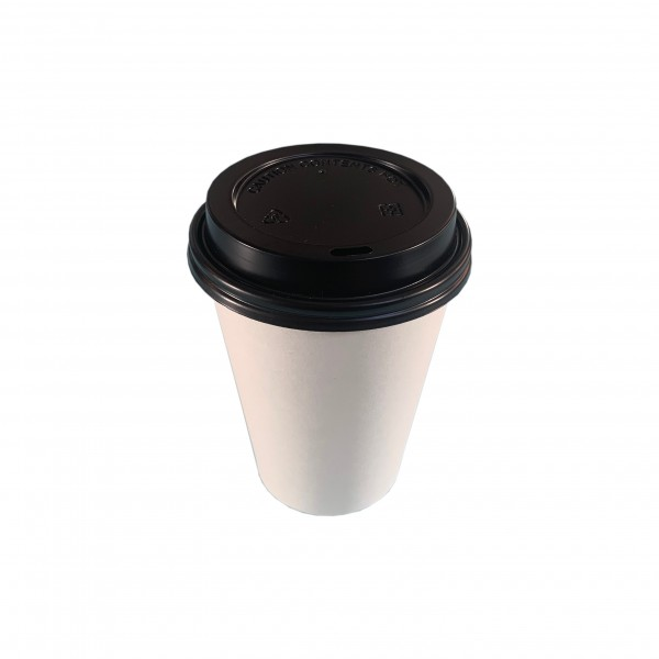 White Paper Cups & Black Lids