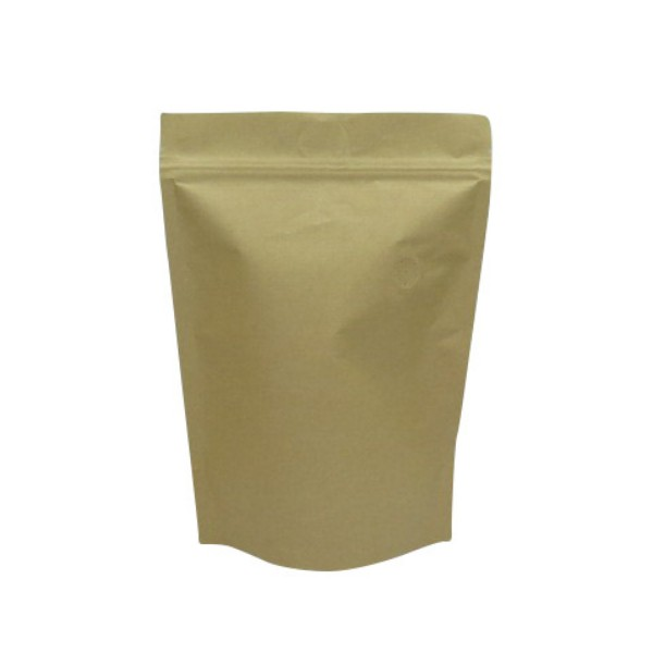 Kraft Brown Plastic & Paper Coffee Pouches With Valves