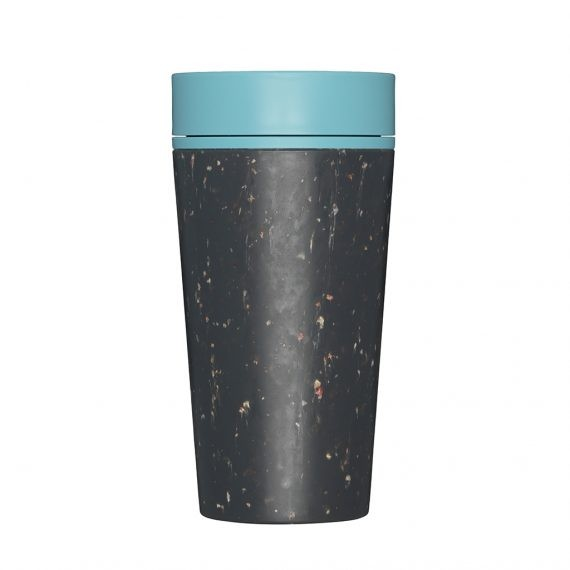 Cream/Green Recycled Plastic Reusable Coffee Cup