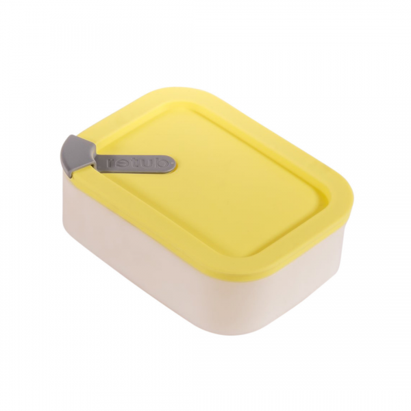 Yellow Glass and Silicone Reusable Retub Container