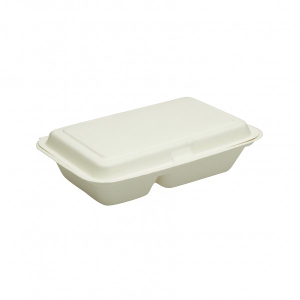 White Biodegradable 2 Compartment Snack Clams