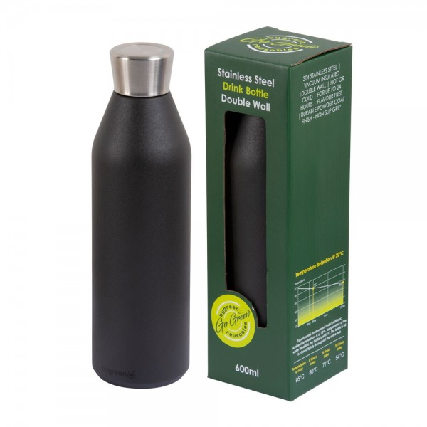Black Stainless Steel Thermo Insulated Reusable Bottle