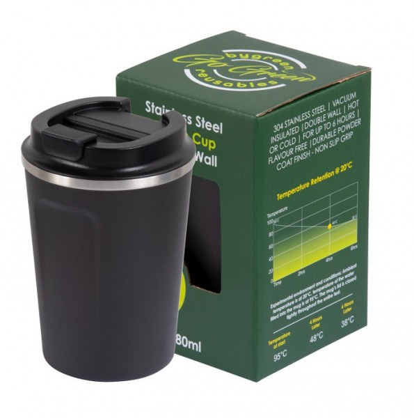 Black Stainless Steel Thermo Insulated Reusable Coffee Cup