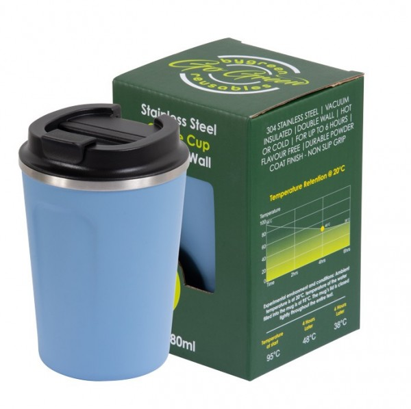 Blue Stainless Steel Thermo Insulated Reusable Coffee Cup