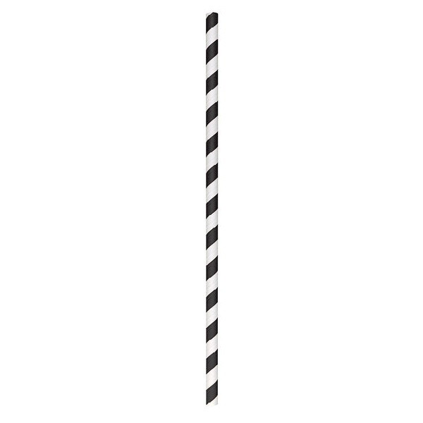 Black Striped Biodegradable Paper Straws