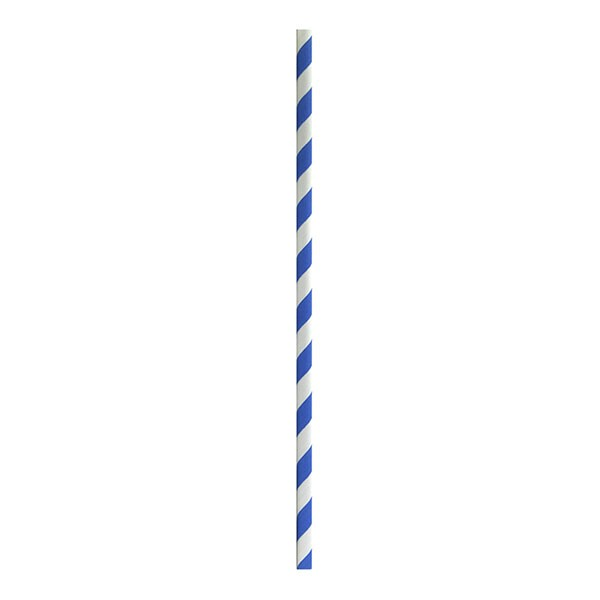 Blue Striped Biodegradable Paper Straws