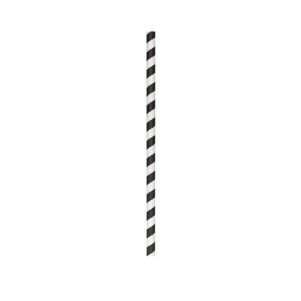 Black and White Stripe Biodegradable Paper Cocktail Straws