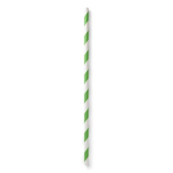 Green Striped Biodegradable Paper Straws
