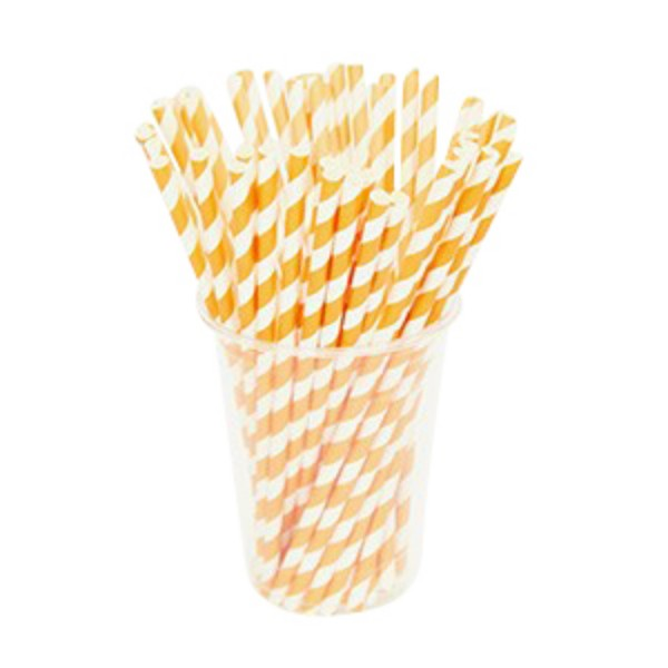 Orange Paper Striped Straws