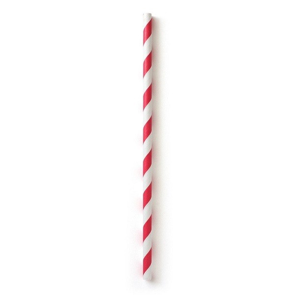 Red Striped Biodegradable Paper Straws