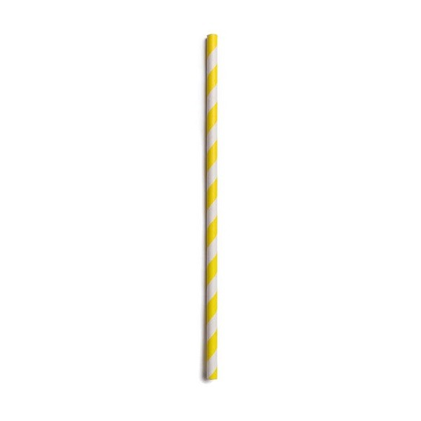 Yellow Striped Biodegradable Paper Straws