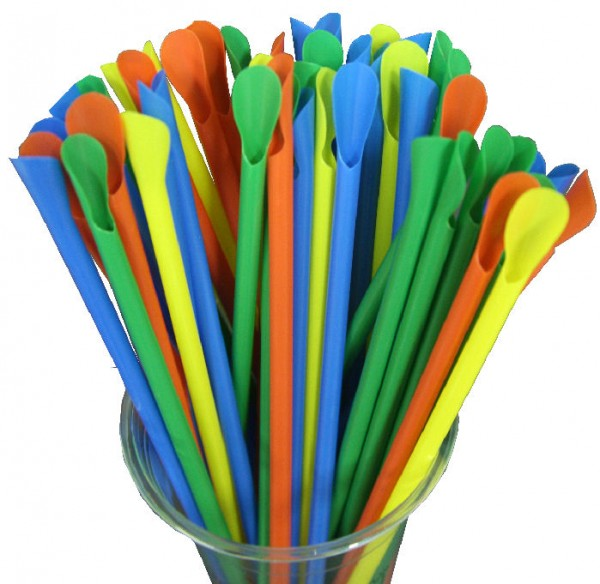 Mixed Colours Plastic Spoon Straws