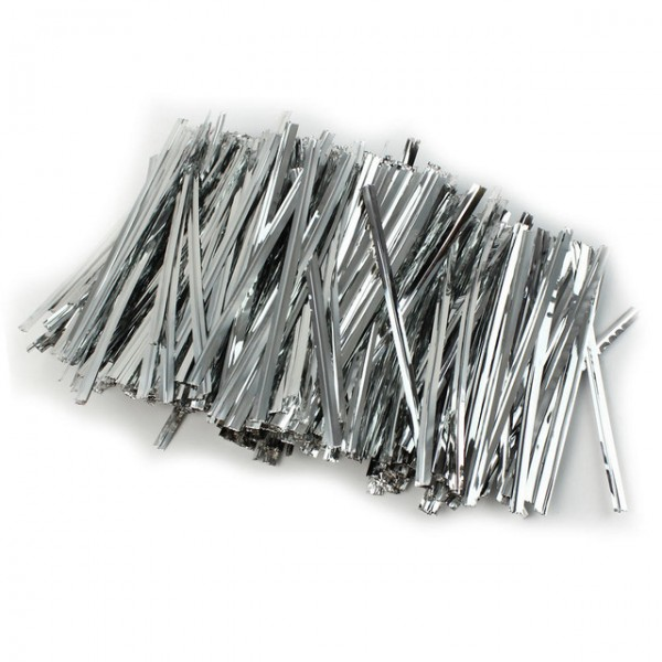 Silver Plastic Twist Ties