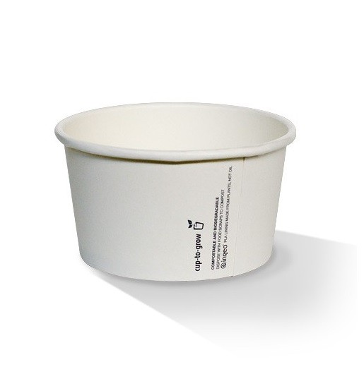 White PLA plastic coated Paper Soup/Ice Cream Bowls