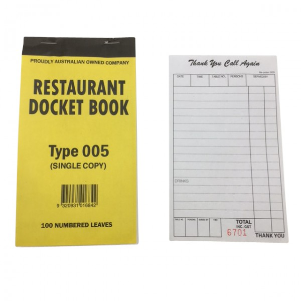 Single Copy Resturant Docket Books